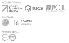 Acreditações: AMBA, RICS, PMI; Rankings: CEO magazine Tier One, Eduniversal 3 Palmes; Certificação APCER ISO 9001